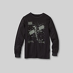 Lands' End - Black boys' long sleeve glow in the dark graphic tee