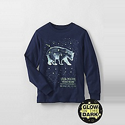 Lands' End - Blue boys' long sleeve glow in the dark graphic tee