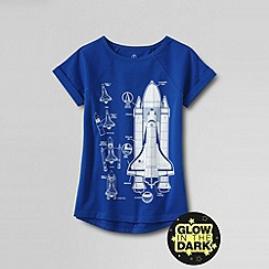 Lands' End - Blue little girls short sleeve hem raglan space graphic tee