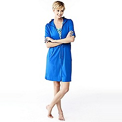 Lands' End - Blue cotton hooded cover-up