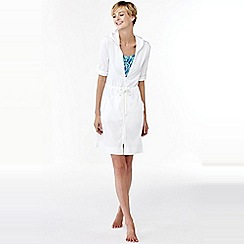 Lands' End - White cotton hooded cover-up