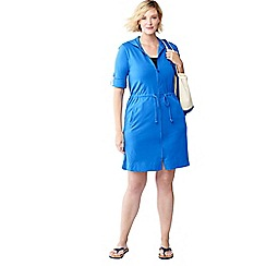 Lands' End - Blue plus size cotton hooded cover-up
