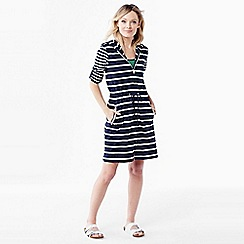 Lands' End - Blue women's roll sleeve striped hooded cover up