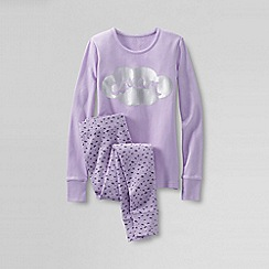 Lands' End - Purple girls' snug-fit cotton pyjamas