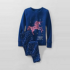 Lands' End - Blue girls' snug-fit cotton pyjamas