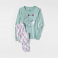 Lands' End - Green girls' snug-fit cotton pyjamas