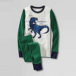 Lands' End - Green boys' snug-fit cotton pyjamas