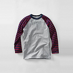 Lands' End - Grey boys' stripe sleeve raglan tee