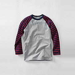 Lands' End - Grey boys' stripe sleeve raglan tee