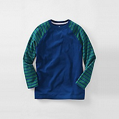Lands' End - Blue boys' stripe sleeve raglan tee
