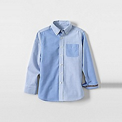 Lands' End - Blue boys' colour blocked oxford shirt
