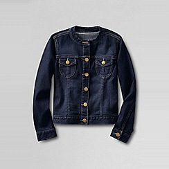 Lands' End - Blue little girls' denim crew neck jacket