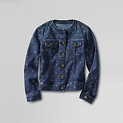 Lands' End - Blue little girls' pattern denim crew neck jacket