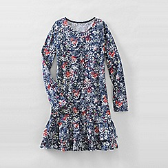 Lands' End - Blue little girls' long sleeve drop waist tiered ruffle dress