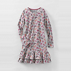 Lands' End - Grey girls' long sleeve drop waist tiered ruffle dress