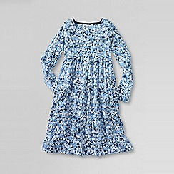 Lands' End - Blue little girls' square neck gathered dress
