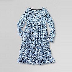 Lands' End - Blue little girls' square neck gathered dress
