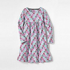 Lands' End - Pink girls' square neck gathered dress