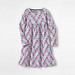 Lands' End - Pink girls' square neck gathered dress