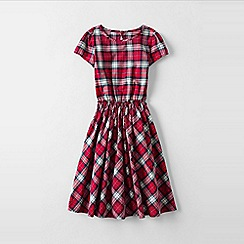 Lands' End - Red little girls' short sleeve gathered waist twirl dress