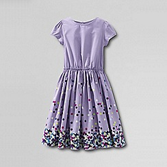 Lands' End - Purple girls' short sleeve gathered waist twirl dress