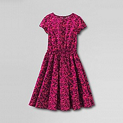Lands' End - Pink girls' short sleeve gathered waist twirl dress