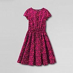 Lands' End - Pink girls' short sleeve gathered waist twirl dress