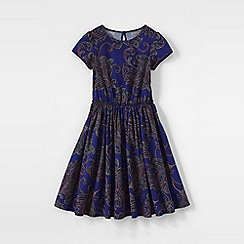 Lands' End - Blue girls' short sleeve gathered waist twirl dress