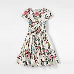 Lands' End - Cream girls' short sleeve gathered waist twirl dress