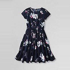 Lands' End - Blue girls' short sleeve gathered waist twirl dress