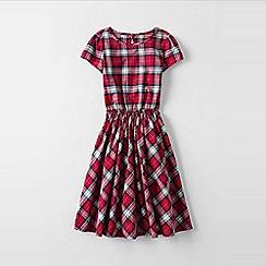 Lands' End - Red girls' short sleeve gathered waist twirl dress