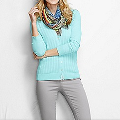 Lands' End - Blue women's fine gauge cotton mixed stitch cardigan