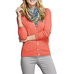 Lands' End - Orange women's fine gauge cotton mixed stitch cardigan