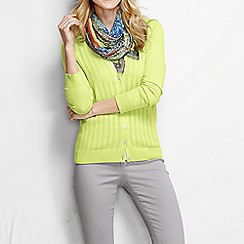 Lands' End - Yellow women's fine gauge cotton mixed stitch cardigan