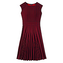 Lands' End - Red women's printed ponte jersey flounce skirt dress