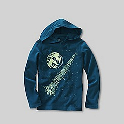 Lands' End - Blue boys' glow-in-the-dark graphic  jersey hoodie