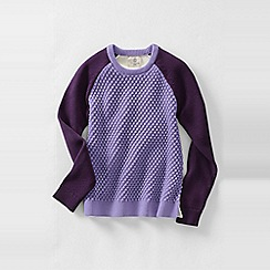 Lands' End - Purple girls' long sleeve textured colourblock crew neck jumper