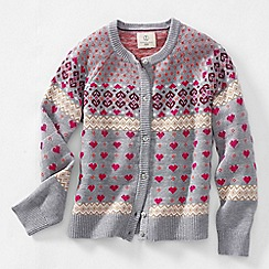 Lands' End - Grey girls' long sleeve fair isle sophie cardigan