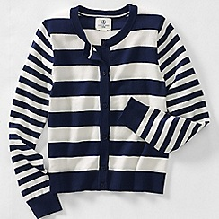 Lands' End - Blue little girls' long sleeve stripe cardigan