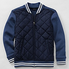 Lands' End - Blue boys' long sleeve quilted baseball jacket
