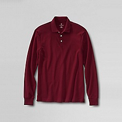 Lands' End - Black men's long sleeve slim fit supima polo