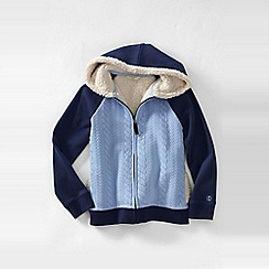 Lands' End - Blue girls' long sleeve cable quilted sherpa hoodie