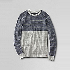 Lands' End - Grey colourblock stripe mariner sweater tee