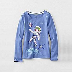 Lands' End - Blue little girls' long sleeve graphic tee