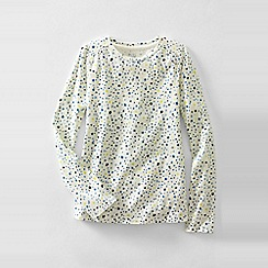 Lands' End - Cream little girls' patterned gathered shoulder tee