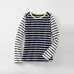 Lands' End - Blue little girls' patterned gathered shoulder tee