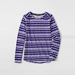 Lands' End - Purple girls' patterned gathered shoulder tee