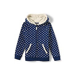 Lands' End - Girls' blue patterned sherpa hoodie