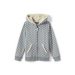 Lands' End - Girls' grey patterned sherpa hoodie
