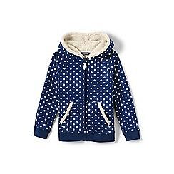 Lands' End - Girls' blue patterned sherpa hoodie